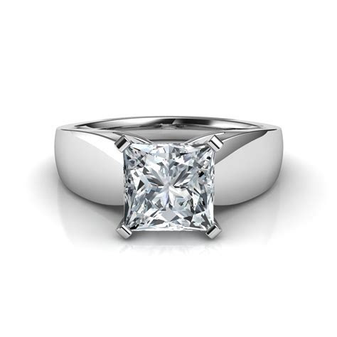 Wide Band Princess Cut Diamond Engagement Ring Natalie