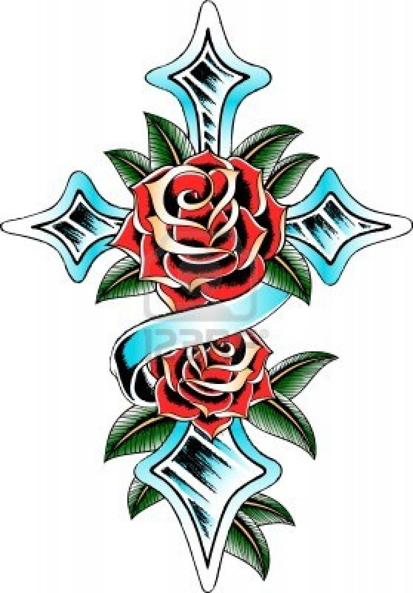 The Rosy Cross And Rose Ribbon Tattoo Pictures Tattoomagz