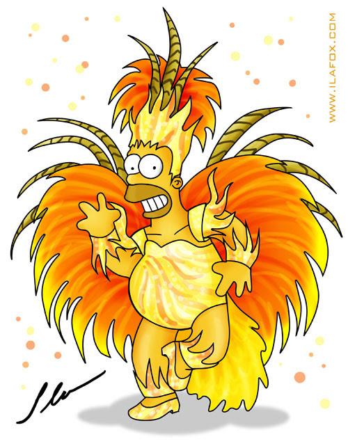 Homer Simpson vestido de carnaval dançando by ila fox