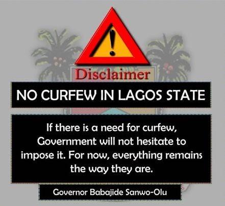 No Curfew, Lagos State Government Debunks Rumour