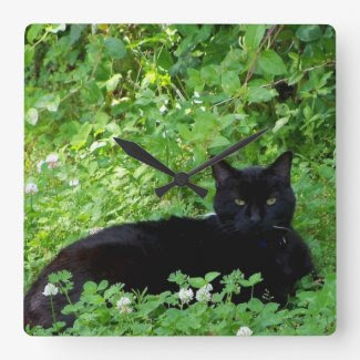 Bombay Cat and Clover Wall Clock