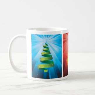 3 bright Christmas trees made from ribbon Coffee Mug