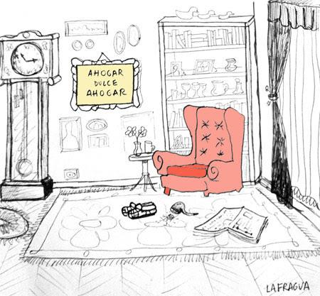 Viñeta en la que se ve una sala de estar llena de libros y un sofá de lectura. Alguien acaba de levantarse. En la pared cuelga un bordado que reza: 'ahogar dulce ahogar'