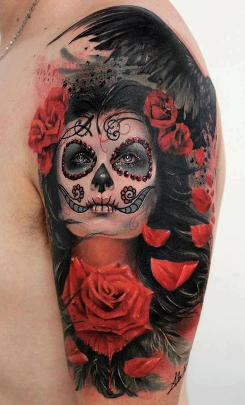Sugar Skull Girl Tattoo On Shoulder
