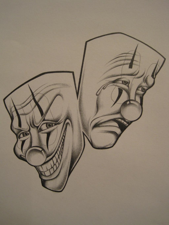 Grey Ink Gangster Clown Tattoos Designs