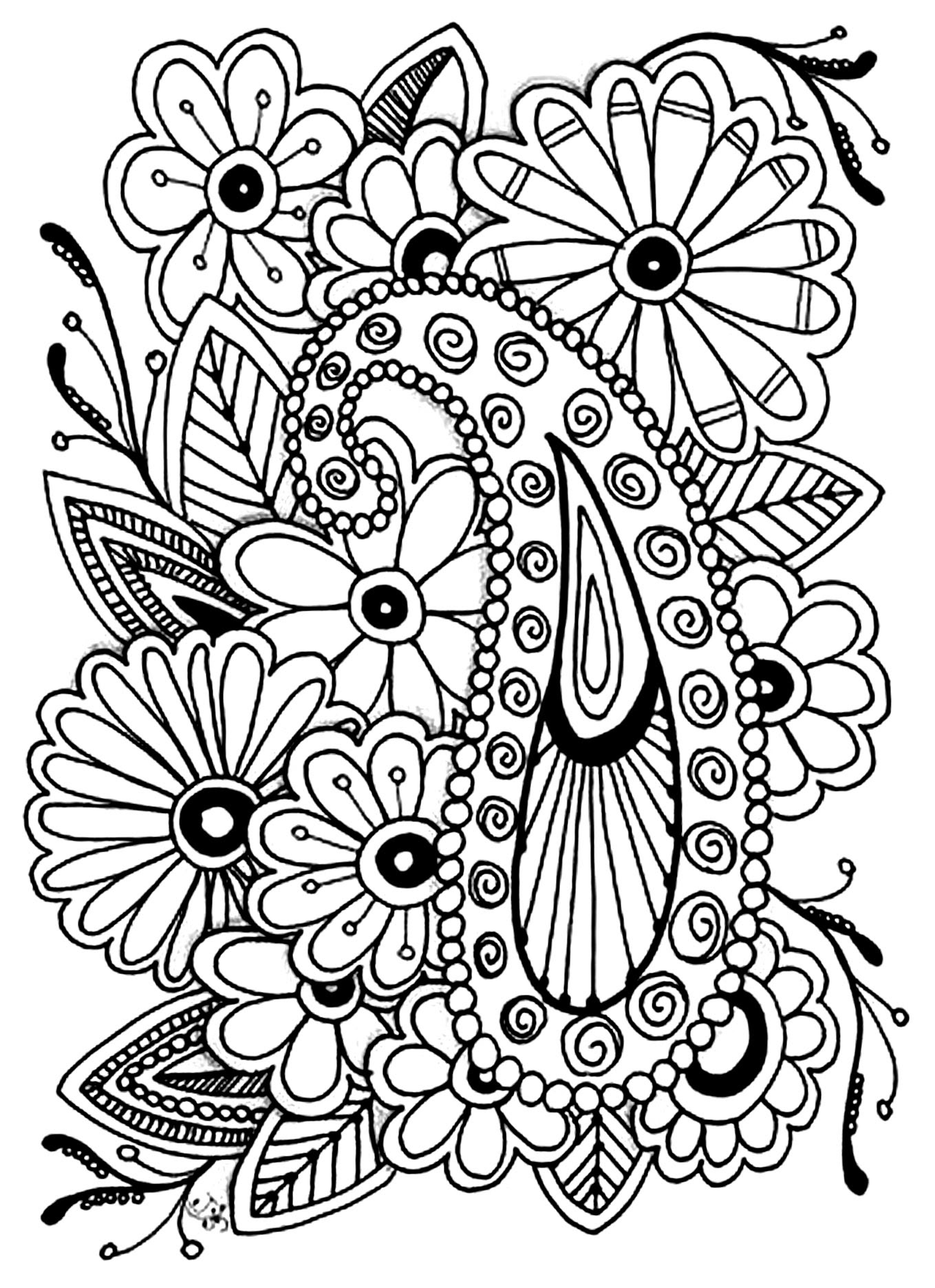 Flowers paisley - Flowers Adult Coloring Pages