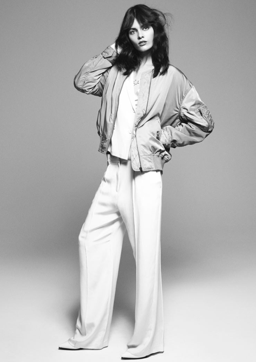 COVER MAGAZINE DENMARK EDITORIAL MELISSA STASIUK ANDREAS OHLUND MINIMAL GLAM HAIR NATURAL BEAUTY INSPIRATION MESSY VOLUME 70s 80S INSPIRED BRUNETTE FEATHERED SPORTY SATIN BOMBER JACKET WHITE WIDE LEG PANTS TROUSERS WHITE PUMPS HEELS 7