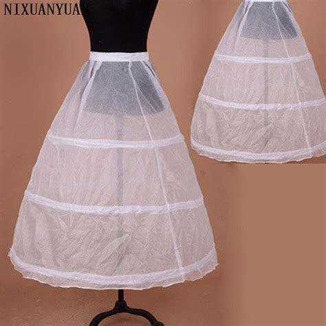 Elastic Waist 3 Hoops Ball Wedding Dress Petticoat White