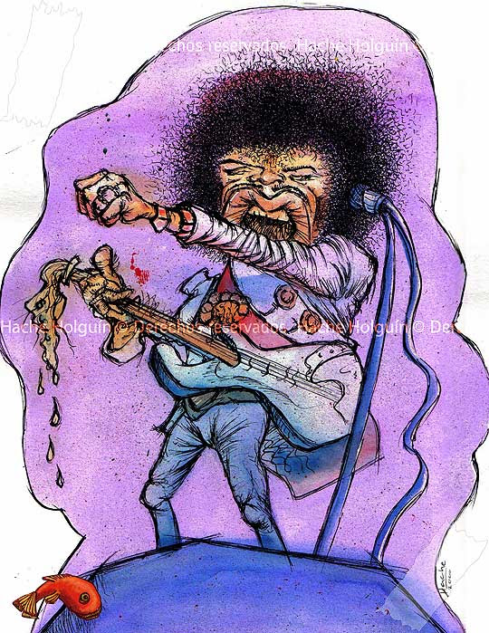 Caricatura de Jimmy Hendrix por Hache Holguín