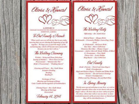 Double Heart Wedding Program Microsoft Word Template   Red