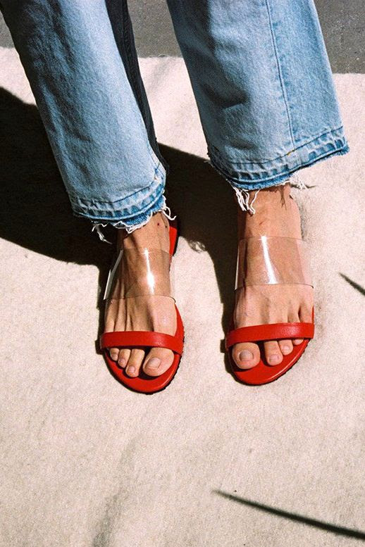 Le Fashion Blog Summer Style Light Wash Raw Hem Denim Red And Clear Flat Strappy Sandals Via Maryam Nassir Zadeh