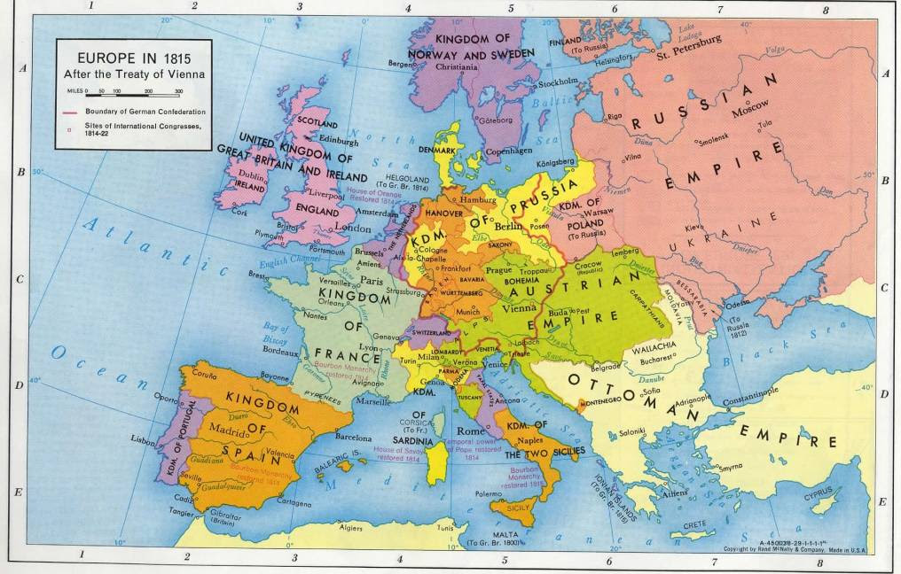 Map Of Europe In 1815 | Time Zone Map