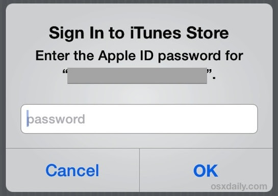 Confirm your Apple ID with iTunes Settings
