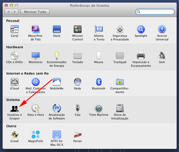 No menu Preferências do Sistema, clique no ícone Usuários e Grupos (Foto: Reprodução/Hugo Carvalho)