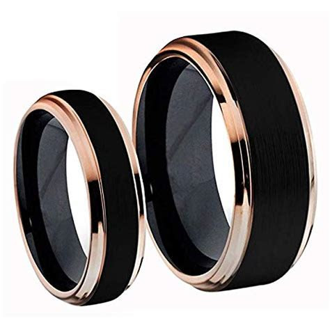 Tungsten Jeweler His & Her (1 Pair) Titanium Two Tone