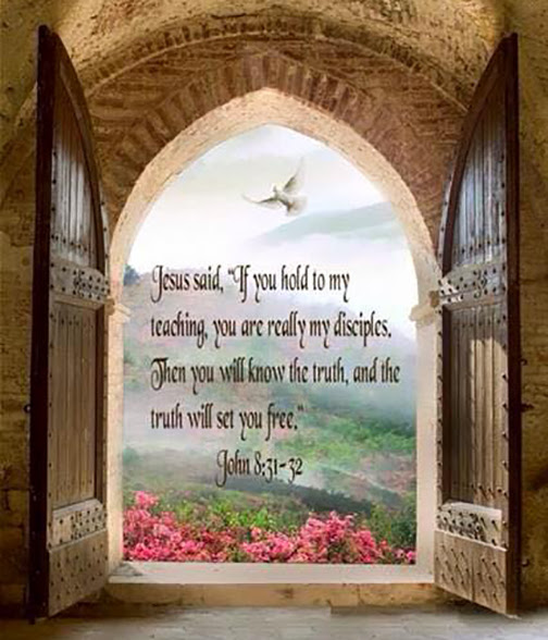 [Photo of stone arch with words superimposed]