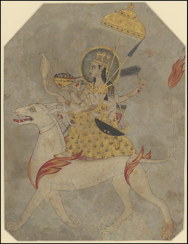 sketch 8-armed Indian female figure with cobra, sword + umbrella on winged lion