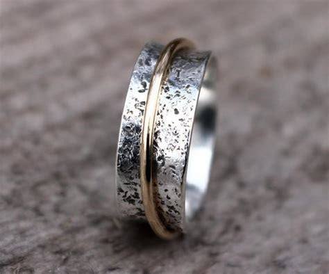 Hammered Sterling Silver Spinner Ring Wedding Ring Narrow