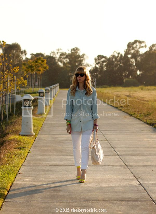 DIY bleach dip shirt, H&M neon heels, Aldo Ollom handbag, Los Angeles fashion, southern California style