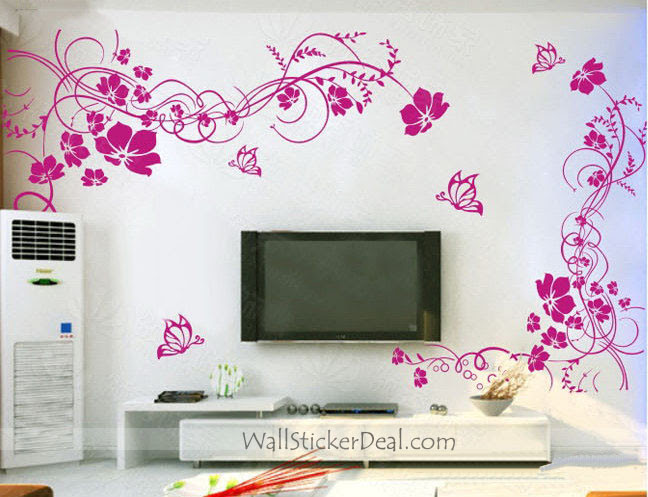 2 sets Beautiful Flower With Butterfly Wall Stickers - Home ...