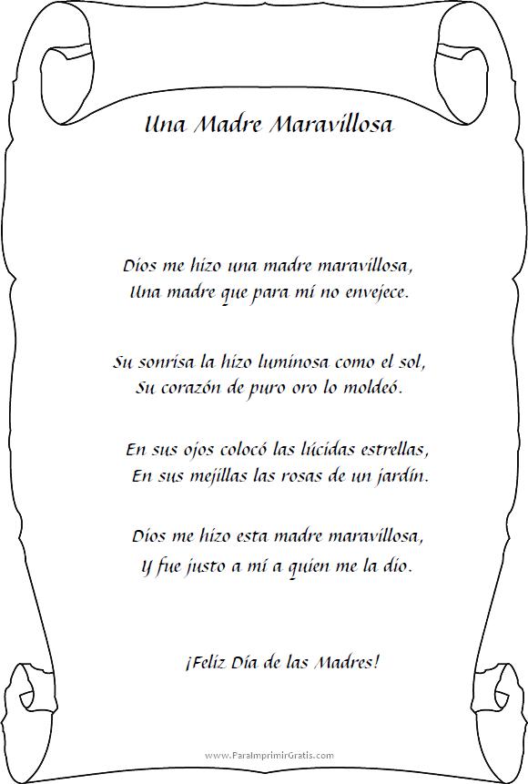 Poemas Para Día De Las Madres Para Imprimir Gratis