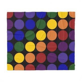 Rainbow Polka Dots on Black Fleece Blanket