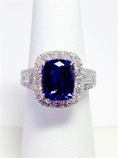 Tanzanite Color Stone Ring Cushion Halo Art Deco Diamond