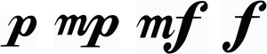 The symbols for various dynamic markings