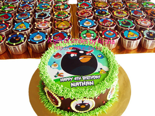 Birthday Cake And Cupcakes Edible Image Angry Birds