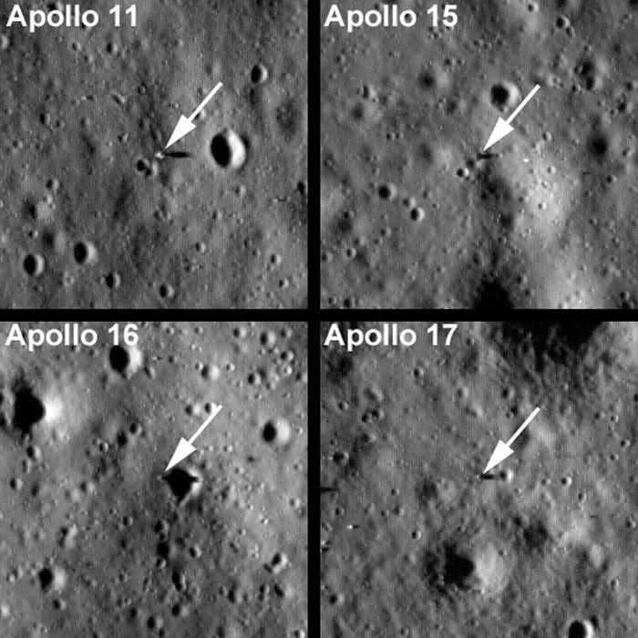 The Apollo 11, 15, 16 and 17 landing sites as seen by the Lunar Reconnaissance Orbiter (LRO) a few days ago.
