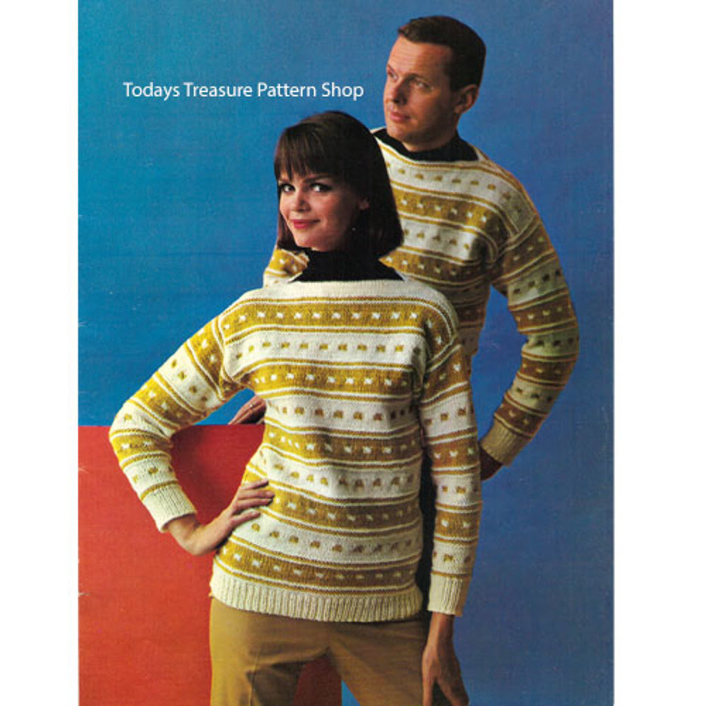 Knitting Pattern Striped Pullovers with Boat Neck