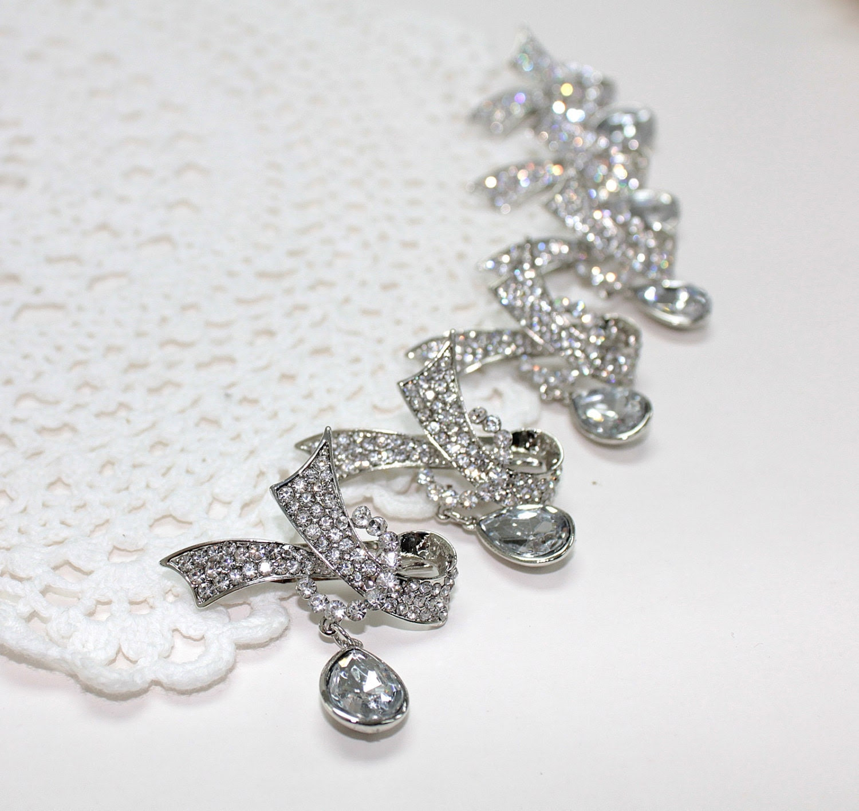 6 pcs Rhinestone Silver-Toned Plated Pin Brooch, DIY Wedding Bridal Brooch Bouquet Bridesmaid Groomsman gift Embellishment