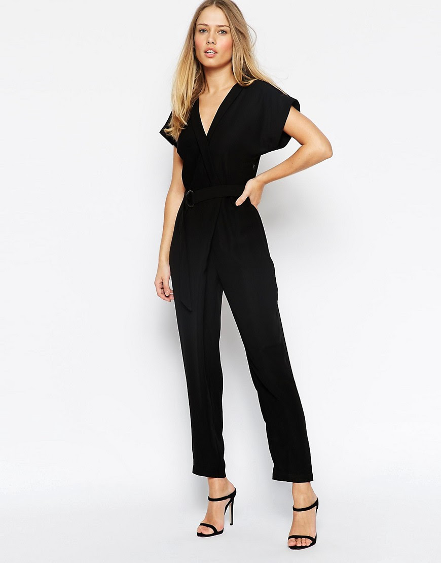 Image 4 ofASOS PETITE Jumpsuit With Wrap Collar And D Ring Belt