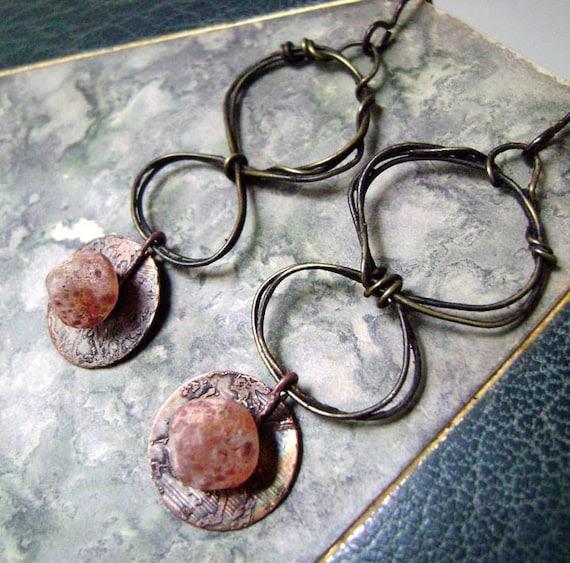 etched metal,hoop earrings,Orange Sherbet Cones,dangle, mixed metal,wire wrapped, Numinosity lampwork, earrings by Anvil Artifacts