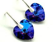 Peacock Earrings...Heliotrope Blue Swarovski Crystal...Sterling Silver Post Earrings...Bridal Bridesmaids Stud...