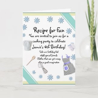 Blue Girls Cooking Party Invitation card