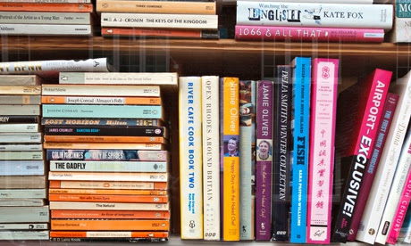 A set of crowded bookshelves