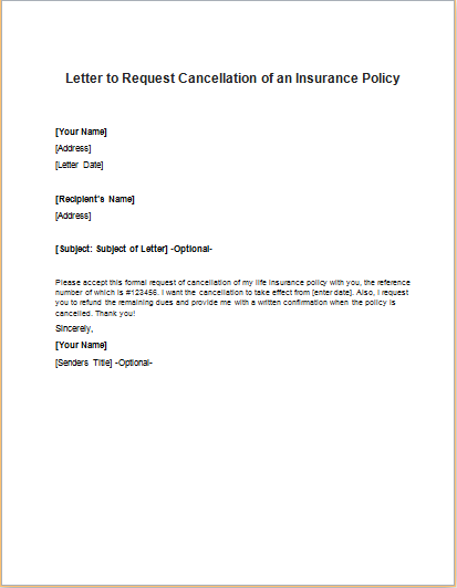 Sample Letter To Insurance Company Cancel Policy ...