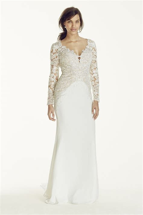 Long Sleeve Beaded Lace Plunge Neckline Gown Style SWG695