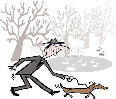 Vector De Dibujos Animados De Hombre Caminando En El Parque Para
