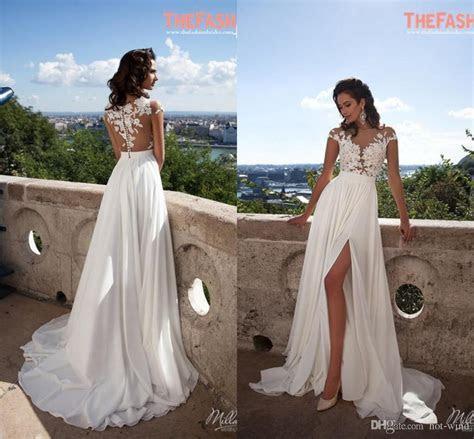 Discount Elegant A Line Chiffon Beach Wedding Dresses 2016