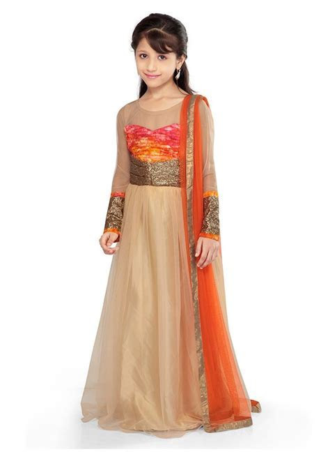 Gold Net K and U #anarkali suit   Kids wear   Pinterest