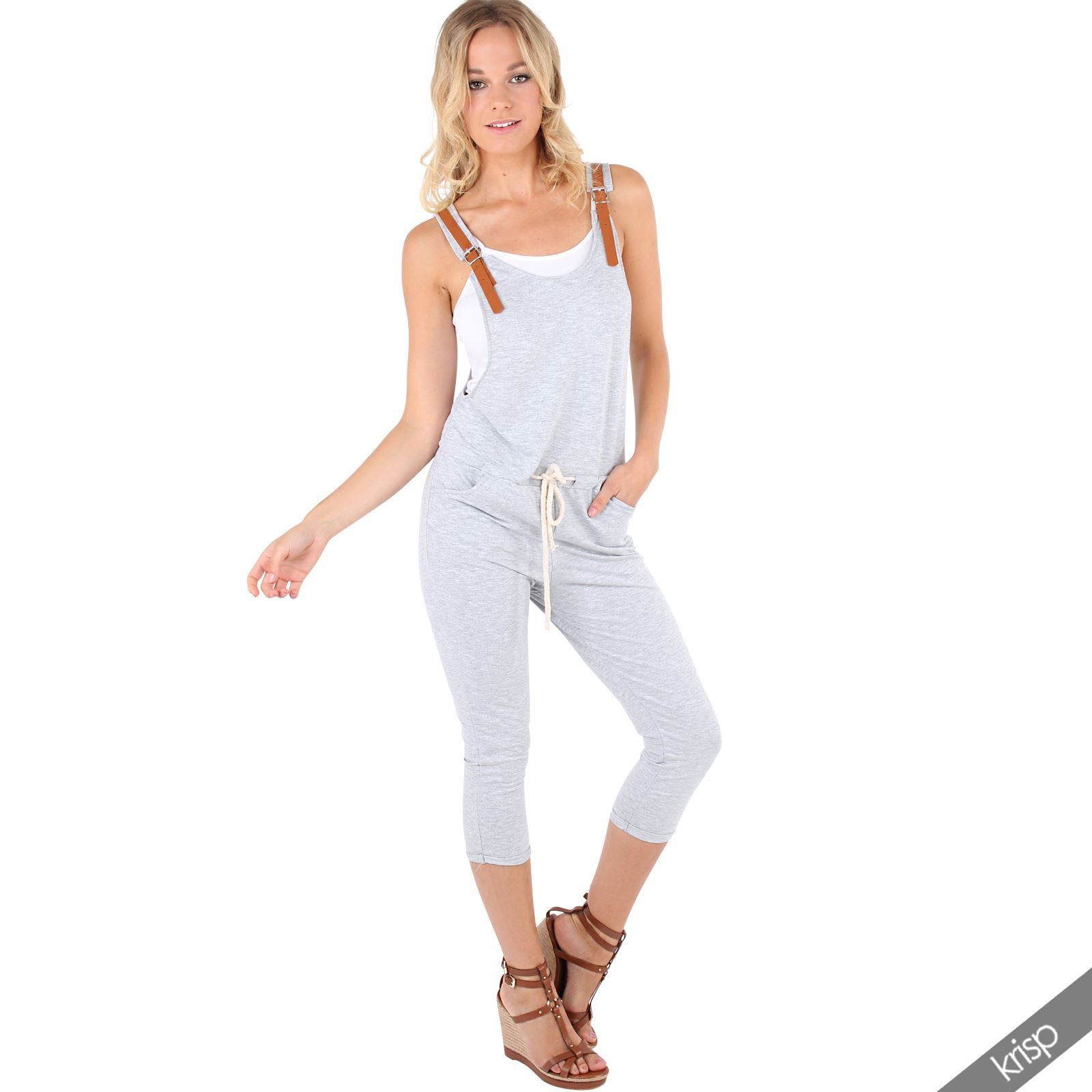 womens leather strap jersey jumpsuit one piece playsuit