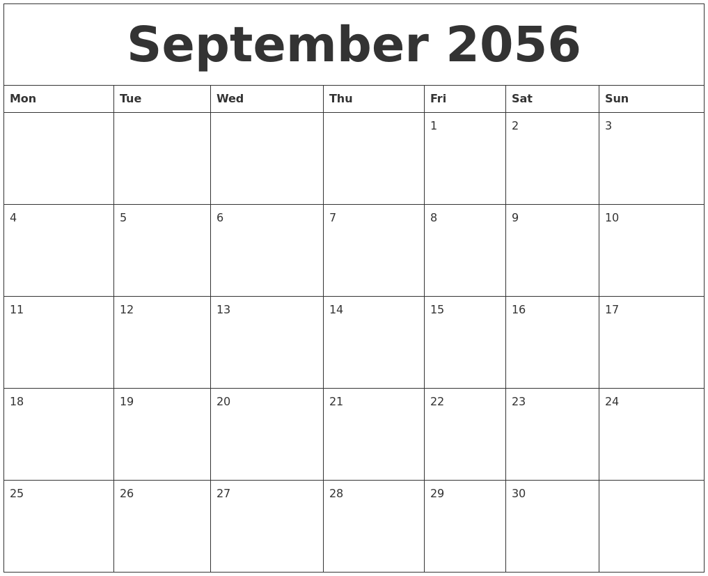 september 2056 calendar pages monday start