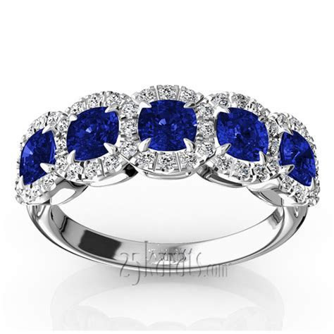 Pave Set Cushion Sapphire Fancy Anniversary Ring (3.25ct. tw.)