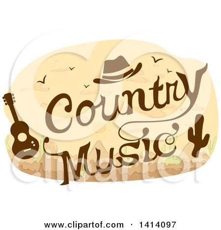 1414097 Clipart Of A Country Music Concert Design With A Cowboy Hat Guitar And Cactus Royalty Free Vector Illustration