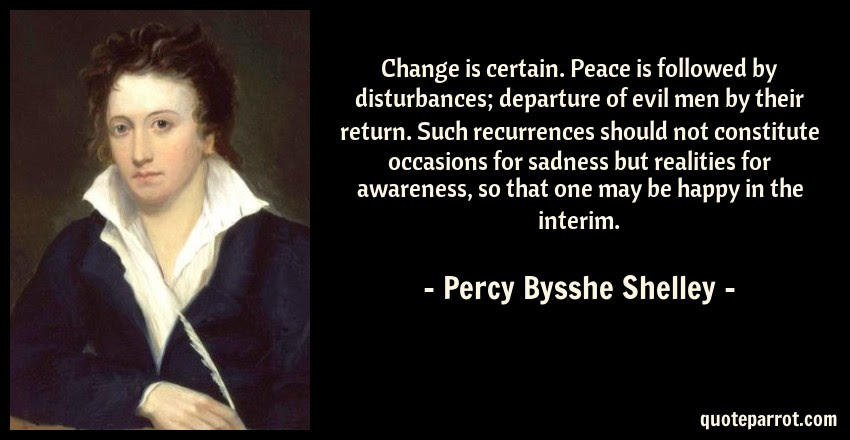 Change Is Certain Peace Is Followed By Disturbances D By Percy