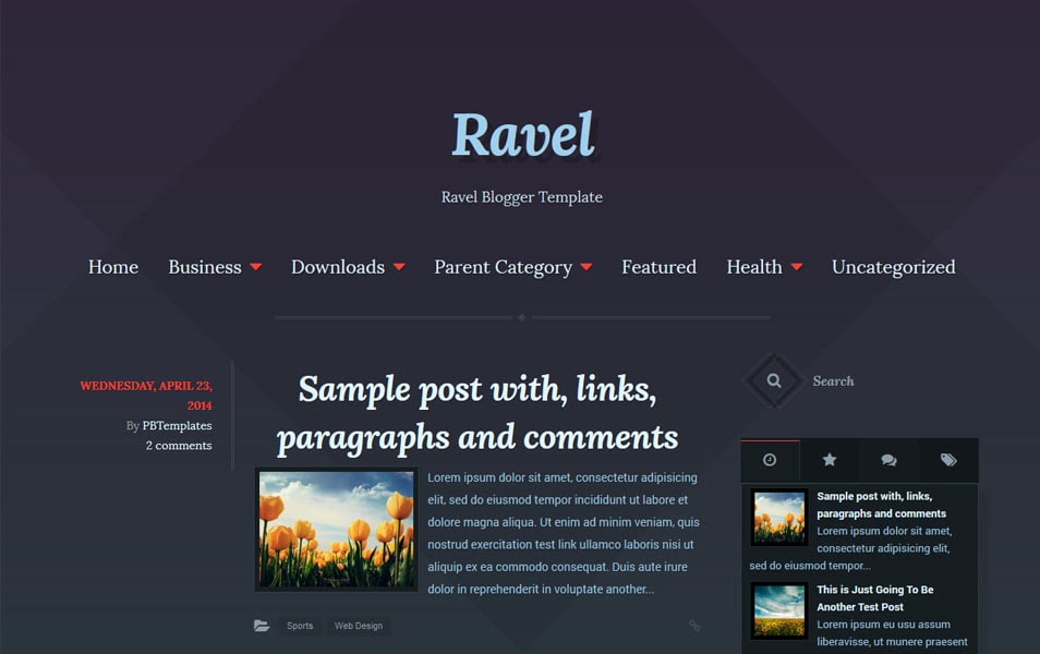 Ravel Responsive Minimalist Blogger Templates