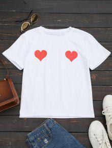 Camiseta de cuello redondo con estampado de corazón