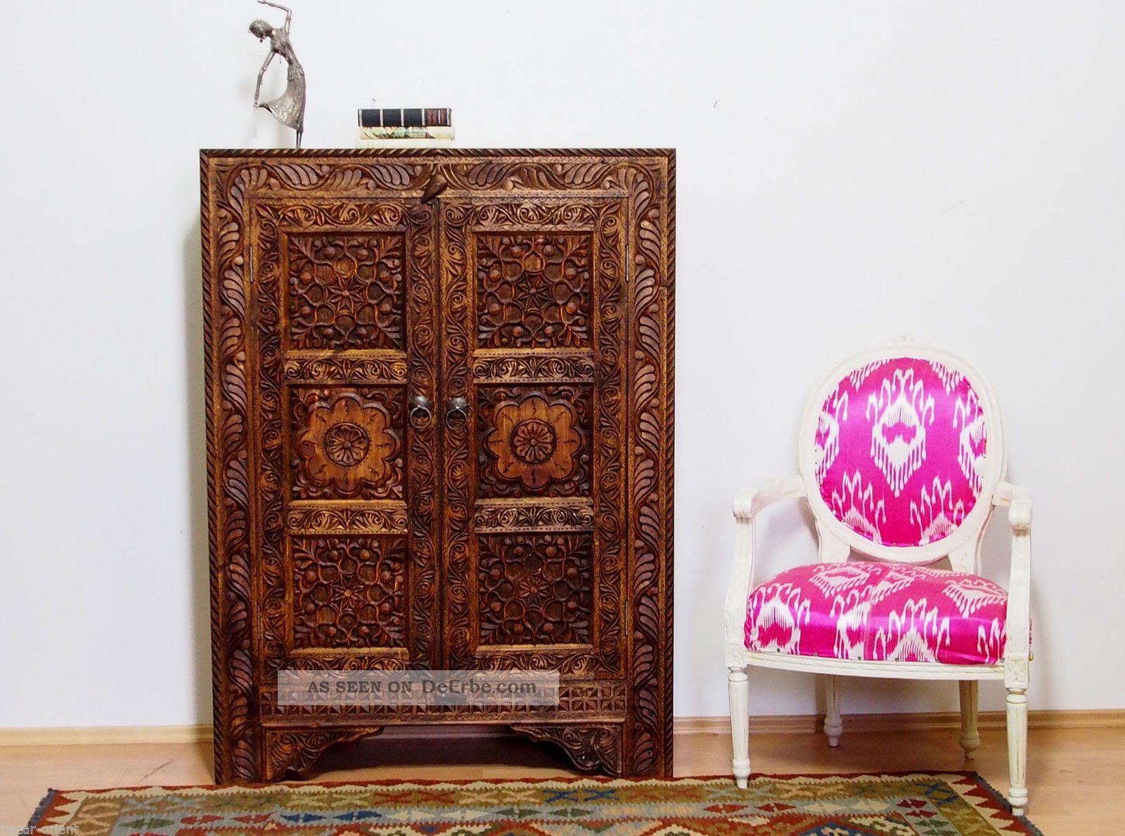 Antiklook Massiv Orient Landhaus Wohnzimmer Schrank ...